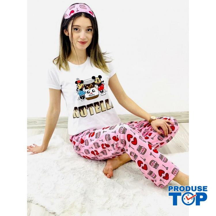 Pijamale Dama Albe cu Masca de dormit Maneca Scurta si Pantaloni Lungi CIOCOLATA PJD08