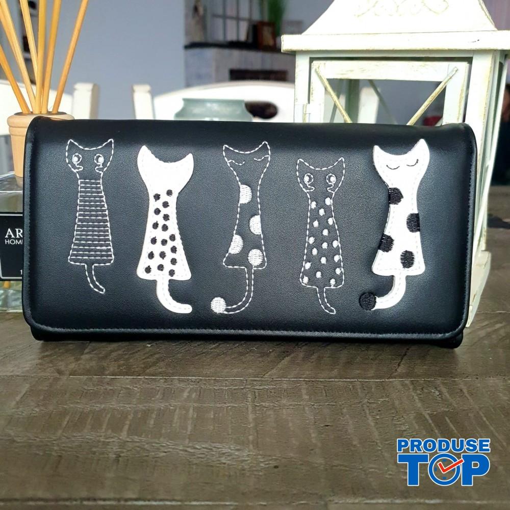Portofel tip clutch dama negru din piele ecologica si design pisicute acpt009