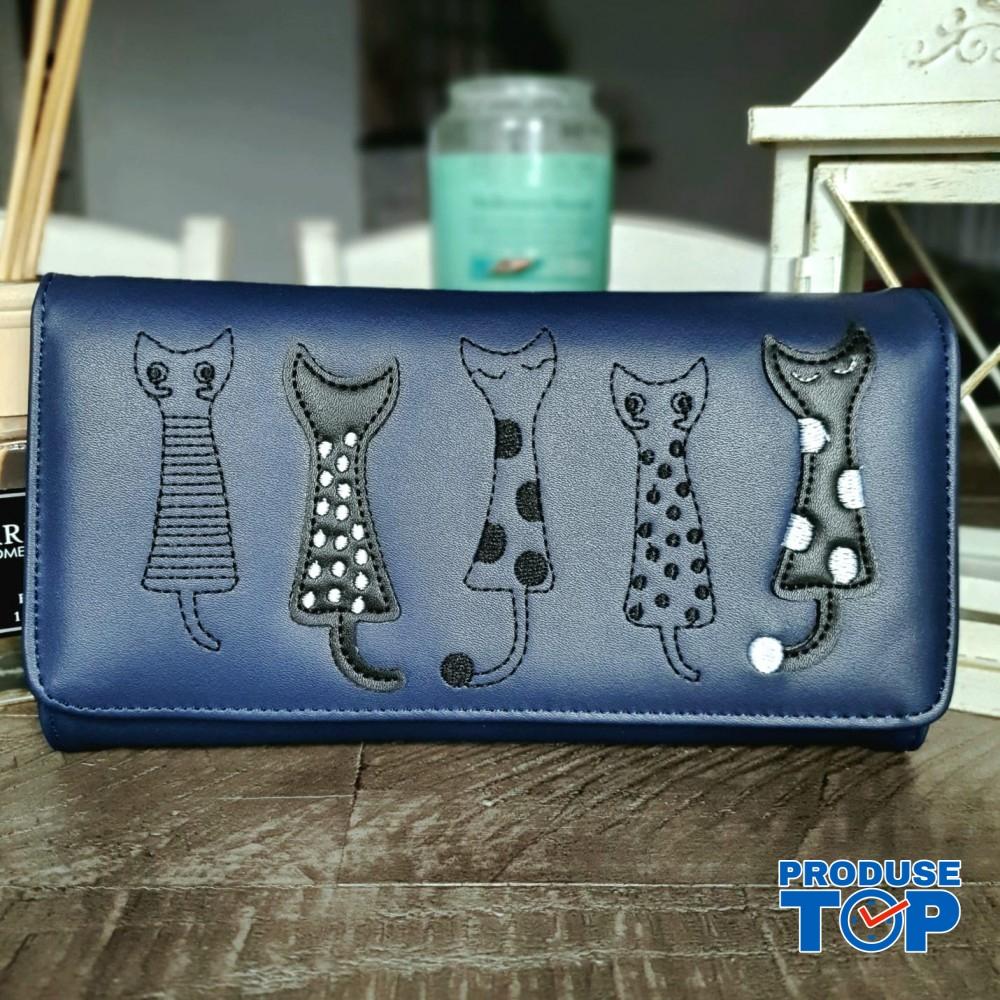 Portofel tip clutch dama albastru din piele ecologica si design pisicute acpt009