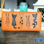 Portofel tip clutch dama maro din piele ecologica si design pisicute acpt009