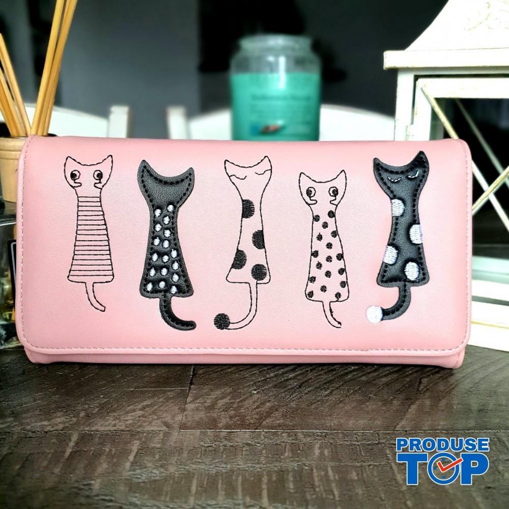 Portofel tip clutch dama roz din piele ecologica si design pisicute acpt009