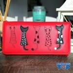 Portofel tip clutch dama rosu din piele ecologica si design pisicute acpt009