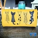 Portofel tip clutch dama galben din piele ecologica si design pisicute acpt009