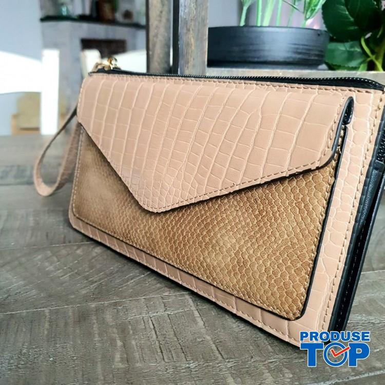 Portofel elegant tip clutch piersica cu buzunar exterior din piele ecologica acpt010