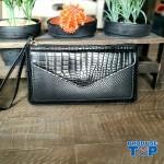 Portofel elegant tip clutch negru cu buzunar exterior din piele ecologica acpt010