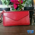 Portofel elegant tip clutch rosu cu buzunar exterior din piele ecologica acpt010