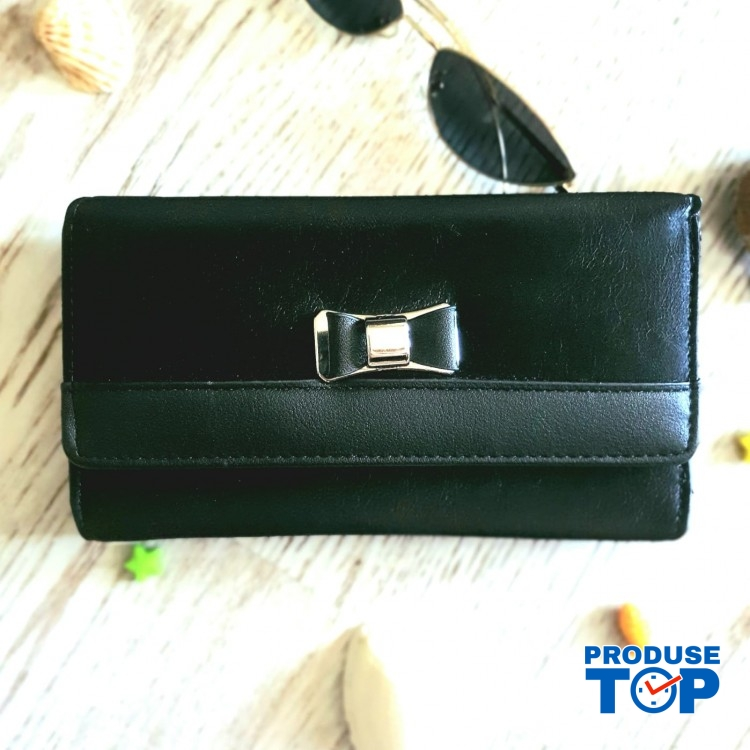 Portofel tip clutch dama negru cu catarama fundita ACPT013