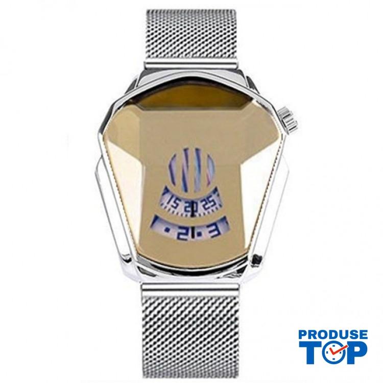 Ceas Barbatesc Sport Fashion Silver Gold cu bratara metalica magnetica argintie CBQZ010