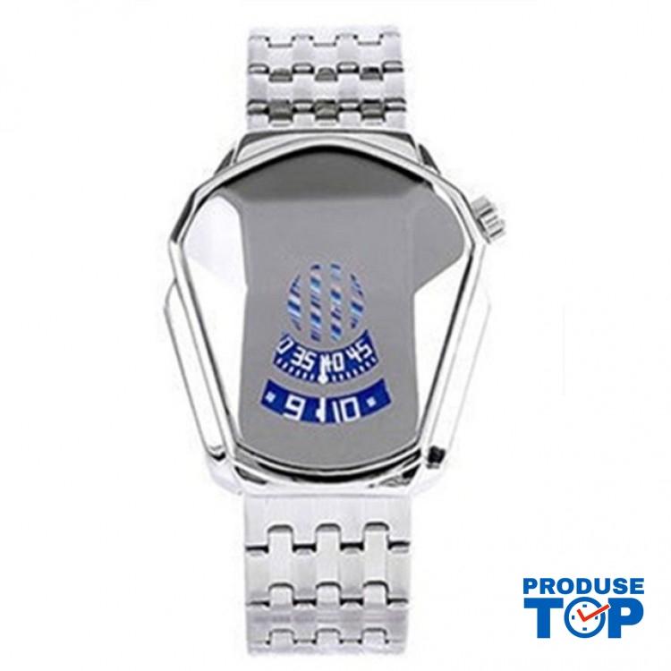 Ceas Barbatesc Sport Fashion Silver cu bratara metalica argintie CBQZ009