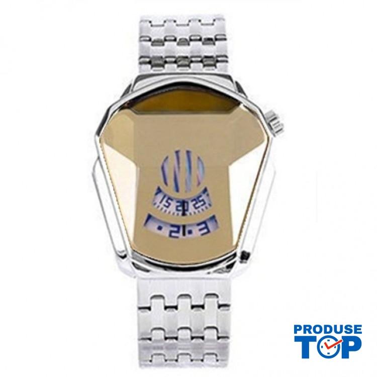 Ceas Barbatesc Sport Fashion Silver Gold cu bratara metalica argintie CBQZ009