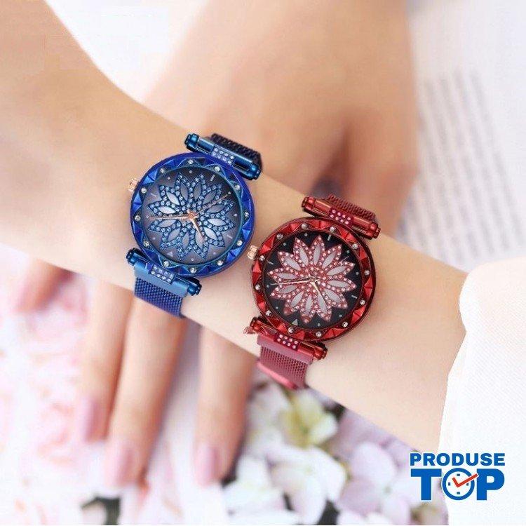 Ceas Dama Rosu cu floare din cristale pe cadran si bratara magnetica QUARTZ CDQZ007