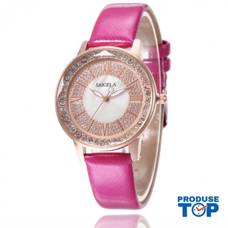 Ceas Dama QUEEN Auriu cu pietricele  si bratara din piele eco Hot Pink QUARTZ CDQZ024
