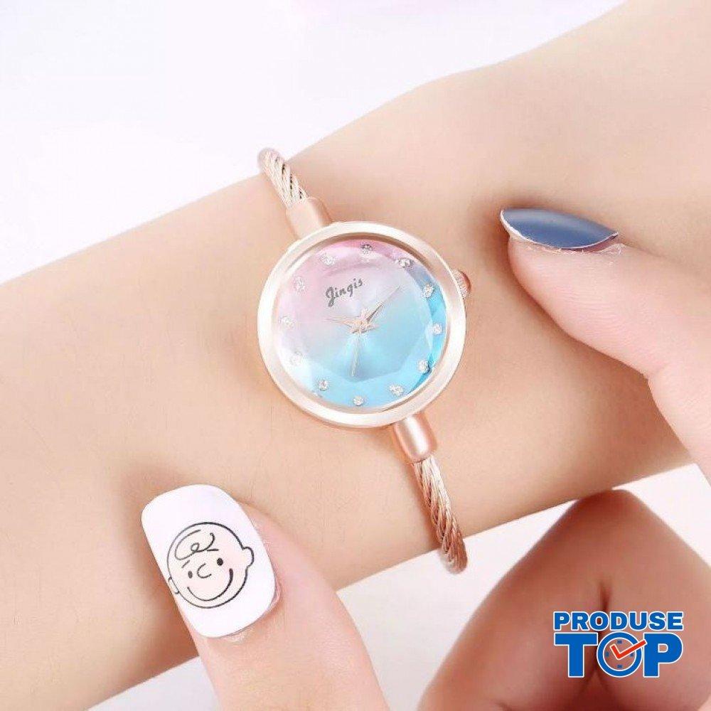 Ceas Dama Clasic Blue tip Bratara cu cadran sidefat CDQZ027