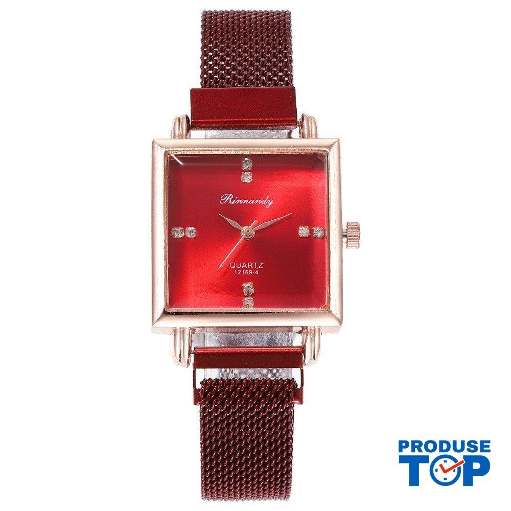 Ceas Dama Elegant Rosu metalic cu cadran patrat si pietre QUARTZ CDQZ030