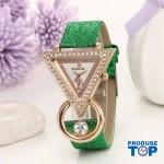 Ceas Dama Elegant cu cadran triunghiular si cristale Green  QUARTZ CDQZ036