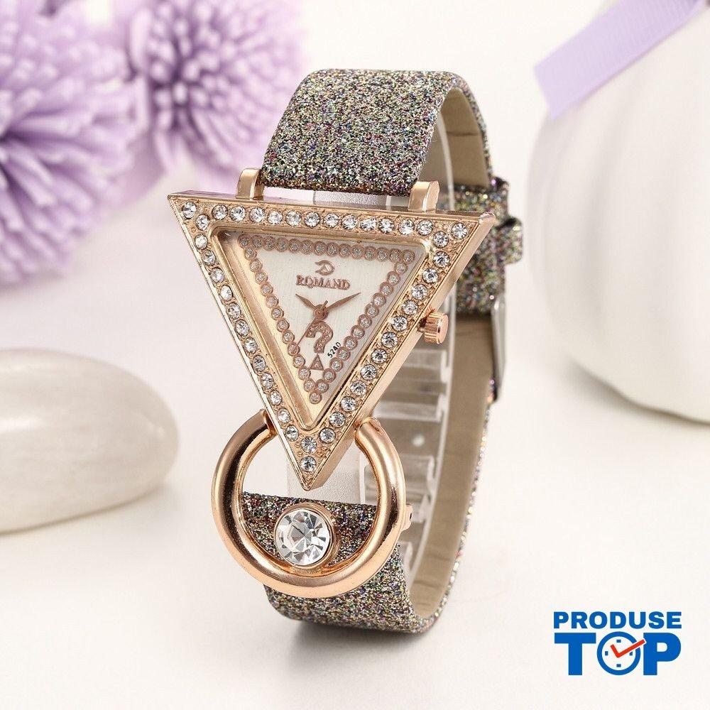 Ceas Dama Elegant cu cadran triunghiular si cristale Grey QUARTZ CDQZ036