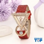 Ceas Dama Elegant cu cadran triunghiular si cristale Red QUARTZ CDQZ036
