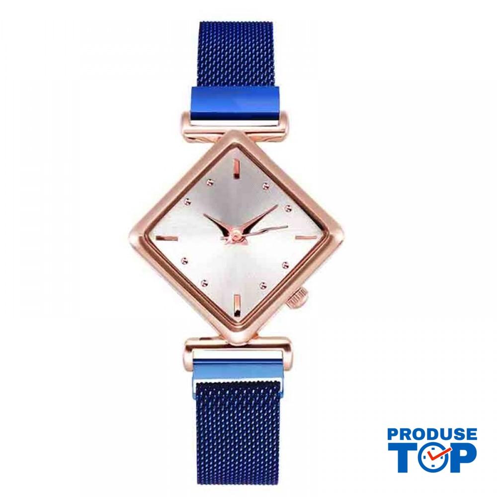 Ceas Dama Elegant Albastru design romb cu bratara metalica QUARTZ CDQZ054