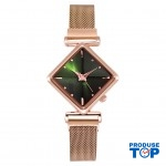 Ceas Dama Elegant Verde design romb cu bratara metalica QUARTZ CDQZ054