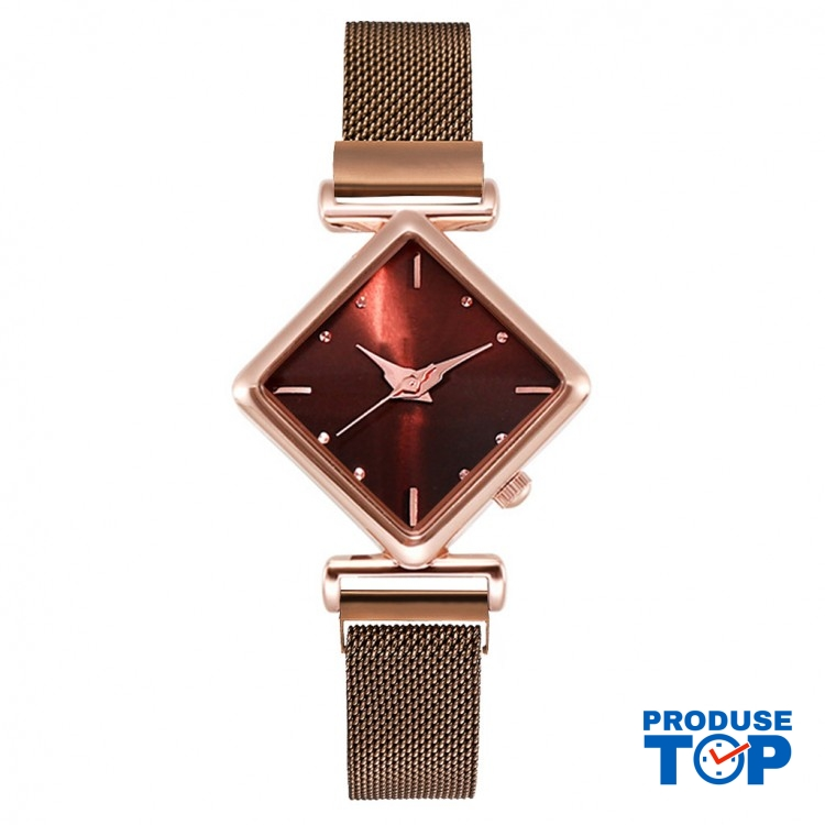 Ceas Dama Elegant Rosu design romb cu bratara metalica QUARTZ CDQZ054