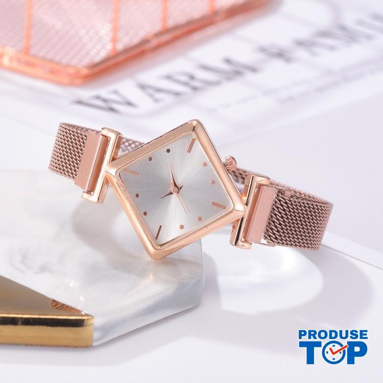 Ceas Dama Elegant Auriu design romb cu bratara metalica QUARTZ CDQZ054