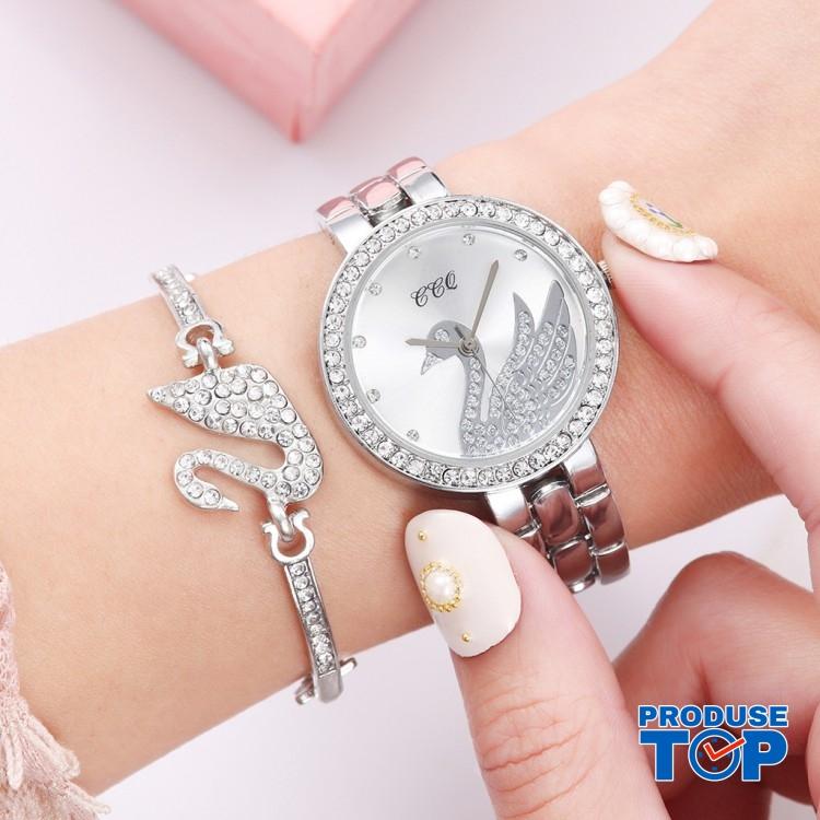 Ceas Dama Luxury argintiu cu lebada si bratara cu strasuri CADOU QUARTZ CDQZ056
