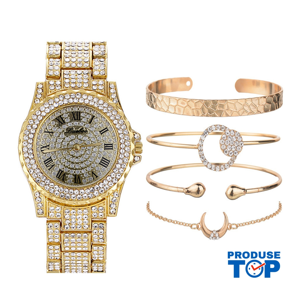 Ceas Dama Luxury auriu cu strasuri si set de 4 bratari gold CADOU QUARTZ CDQZ059