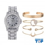 Ceas Dama Luxury argintiu cu strasuri si set de 4 bratari aurii CADOU QUARTZ CDQZ059