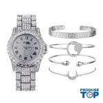 Ceas Dama Luxury argintiu cu strasuri si set de 4 bratari silver CADOU QUARTZ CDQZ059