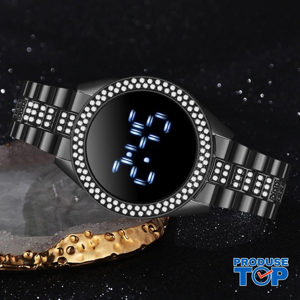 Ceas Dama Luxury Negru cu pietre pe carcasa si afisaj led  CDQZ060