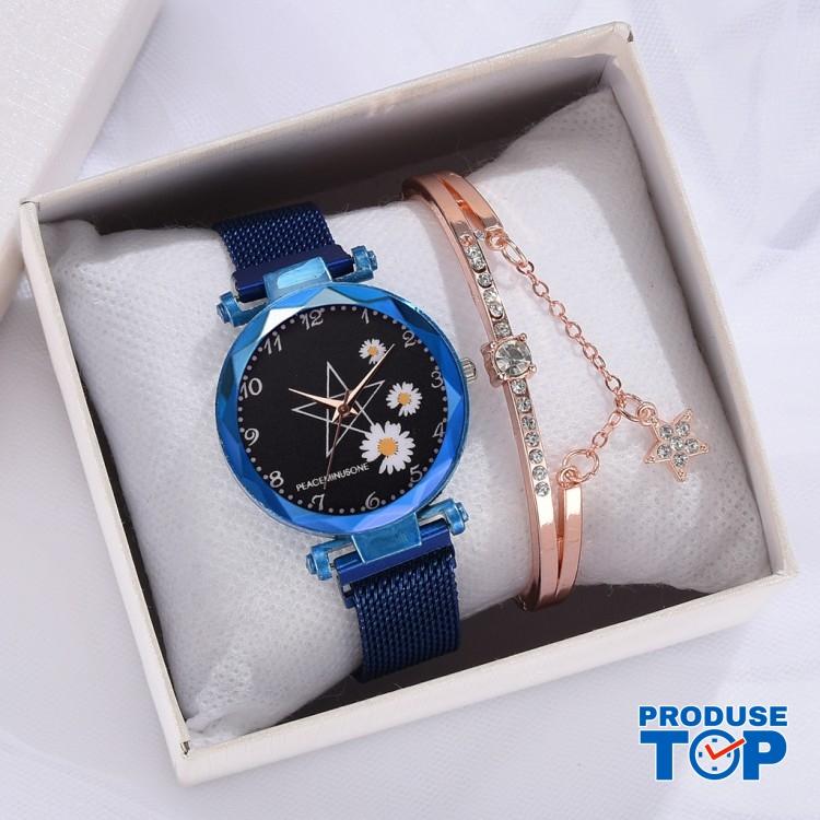 Ceas Dama Luxury albastru cu margarete si bratara cu strasuri CADOU QUARTZ CDQZ058
