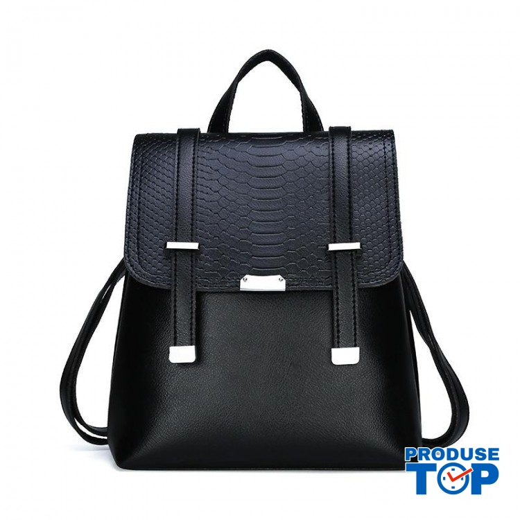 Rucsac dama negru fashion din piele eco cu clapeta  ACRD116