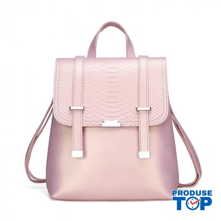 Rucsac dama metalizat  fashion din piele eco cu clapeta roz ACRD116