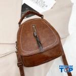Rucsac geanta dama maro din piele eco cu fermoar cu ciucuras ACRD126