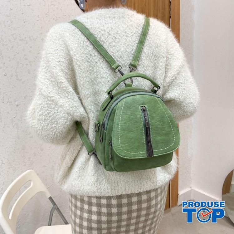 Rucsac geanta dama verde din piele eco cu fermoar cu ciucuras ACRD126