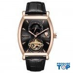 Ceas Barbatesc Premium Automatic Moonphase Legend Elegant Business Gold Black cu bratara din Piele Tevise CBTV004 - Tourbillon