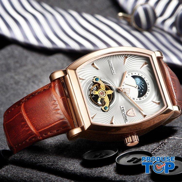 Ceas Barbatesc Premium Automatic Moonphase Legend Elegant Business Gold White cu bratara din Piele Tevise CBTV004 - Tourbillon