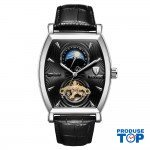 Ceas Barbatesc Premium Automatic Moonphase Legend Elegant Business Silver Black cu bratara din Piele Tevise CBTV004 - Tourbillon