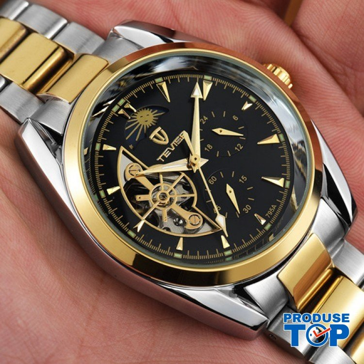 Ceas Barbatesc Business Automatic Gold Black cu bratara metalica Tevise CBTV005
