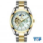 Ceas Barbatesc Business Automatic Gold White cu bratara metalica Tevise CBTV005