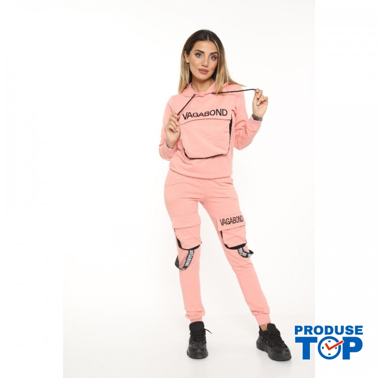 Trening Dama roz fashion cu hanorac si pantaloni cu buzunare TND03