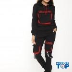 Trening Dama Negru cu Rosu fashion cu hanorac si pantaloni cu buzunare TND03