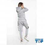 Trening Dama gri fashion cu hanorac si pantaloni cu buzunare TND03