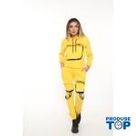 Trening Dama galben fashion cu hanorac si pantaloni cu buzunare TND03