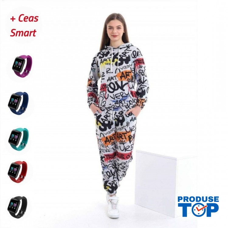 Trening Dama  fashion cu hanorac si pantaloni cu imprimeu art TND04