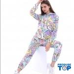 Trening Dama  fashion cu hanorac si pantaloni Rainbow Colors TND04