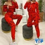Trening Dama Fashion rosu din trei piese TND07