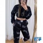 Trening Dama Fashion negru cu pantaloni cu talie inalta si bluza scurta Tigru TND08