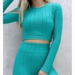 Set Fitness Turquoise Sport cu bluza maneca lunga si colanti modelatori cu talie inalta SFIT023